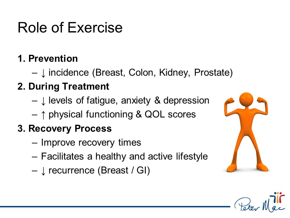 Role of Exercise 1.Prevention –↓ incidence (Breast, Colon, Kidney, Prostate) 2.During Treatment –↓ levels of fatigue, anxiety & depression –↑ physical functioning & QOL scores 3.Recovery Process –Improve recovery times –Facilitates a healthy and active lifestyle –↓ recurrence (Breast / GI)