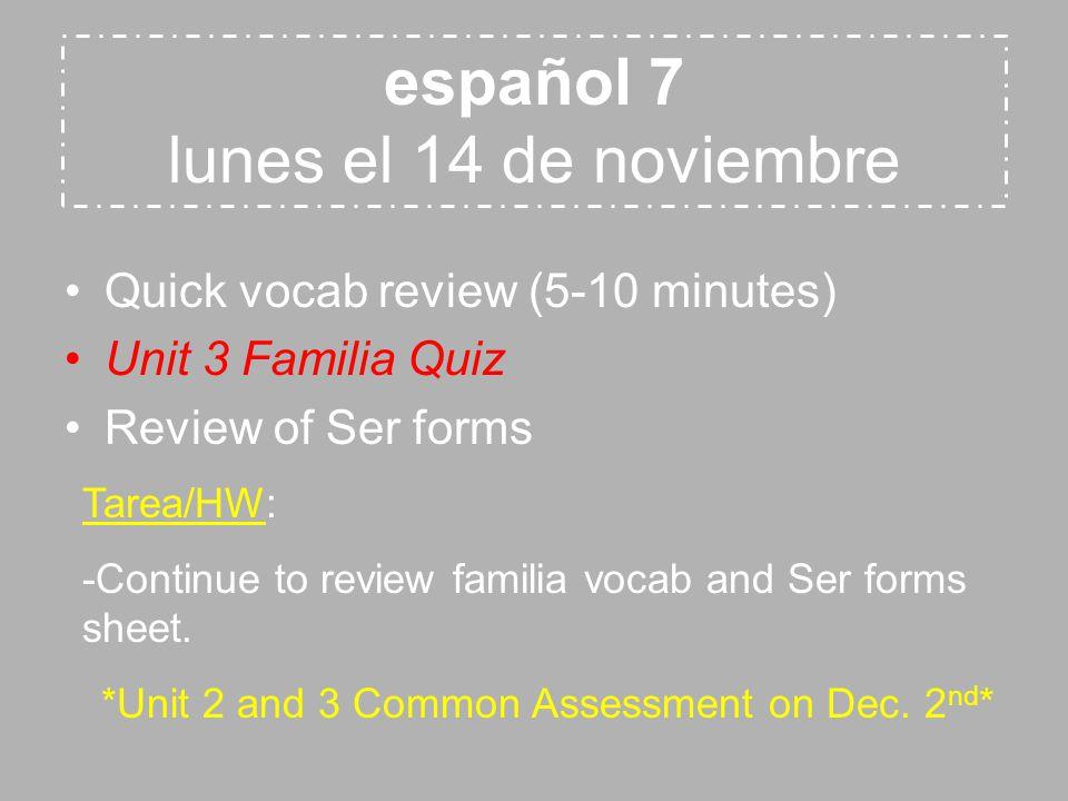 español 8 martes el 15 de noviembre NO PENS, ONLY PENCILS.