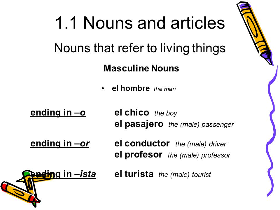 1.1 Nouns and articles el hombre the man Masculine Nouns ending in –oel chico the boy el pasajero the (male) passenger ending in –orel conductor the (