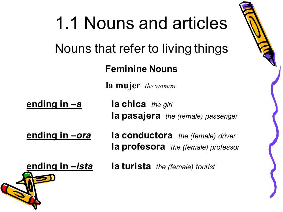1.1 Nouns and articles ending in –ala chica the girl la pasajera the (female) passenger ending in –orala conductora the (female) driver la profesora t