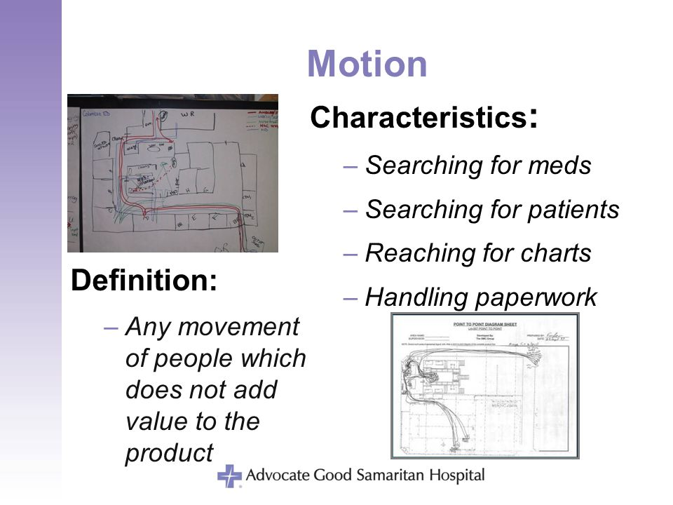 Motion Definition: –Any movement of people which does not add value to the product Characteristics : –Searching for meds –Searching for patients –Reac