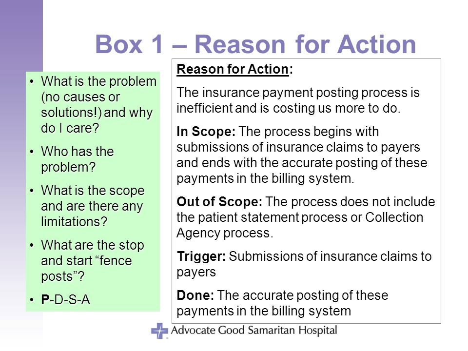 Box 1 – Reason for Action What is the problem (no causes or solutions!) and why do I care?What is the problem (no causes or solutions!) and why do I c