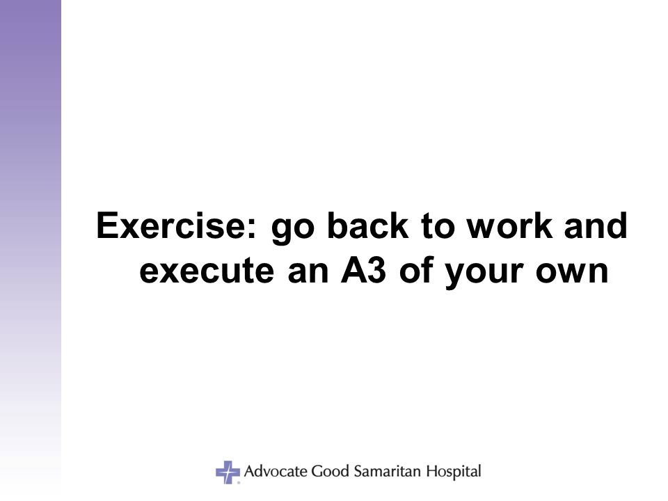 Exercise: go back to work and execute an A3 of your own