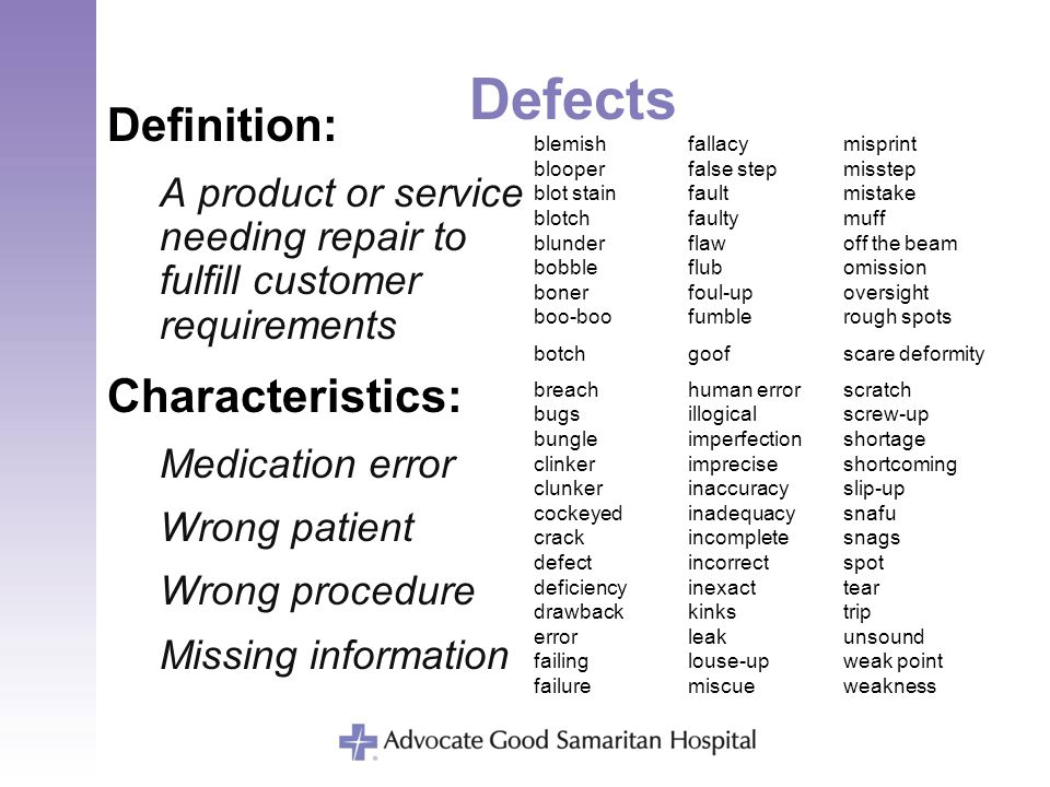 Defects Definition: A product or service needing repair to fulfill customer requirements blemishfallacymisprint blooperfalse stepmisstep blot stainfau