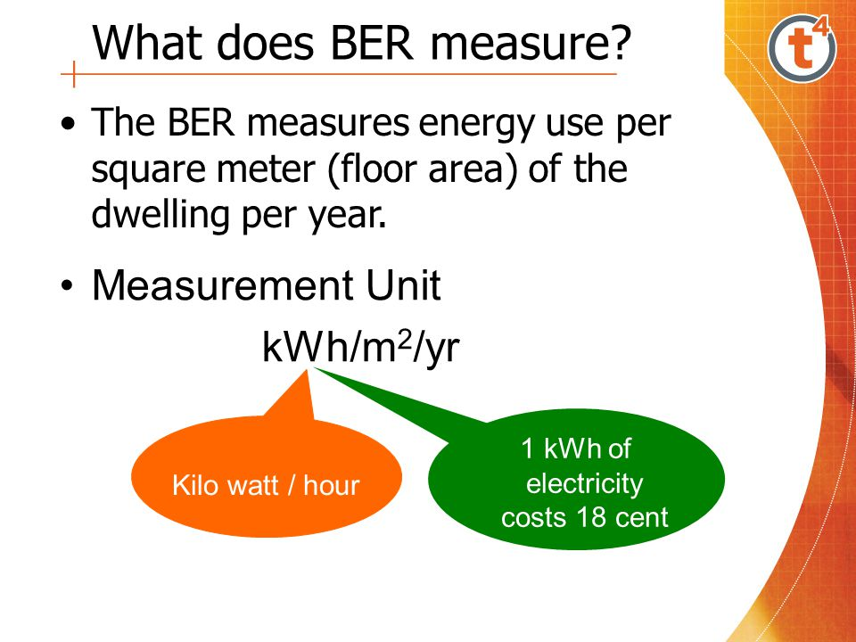 What does BER measure? The BER measures energy use per square meter (floor area) of the dwelling per year. Measurement Unit kWh/m 2 /yr Kilo watt / ho