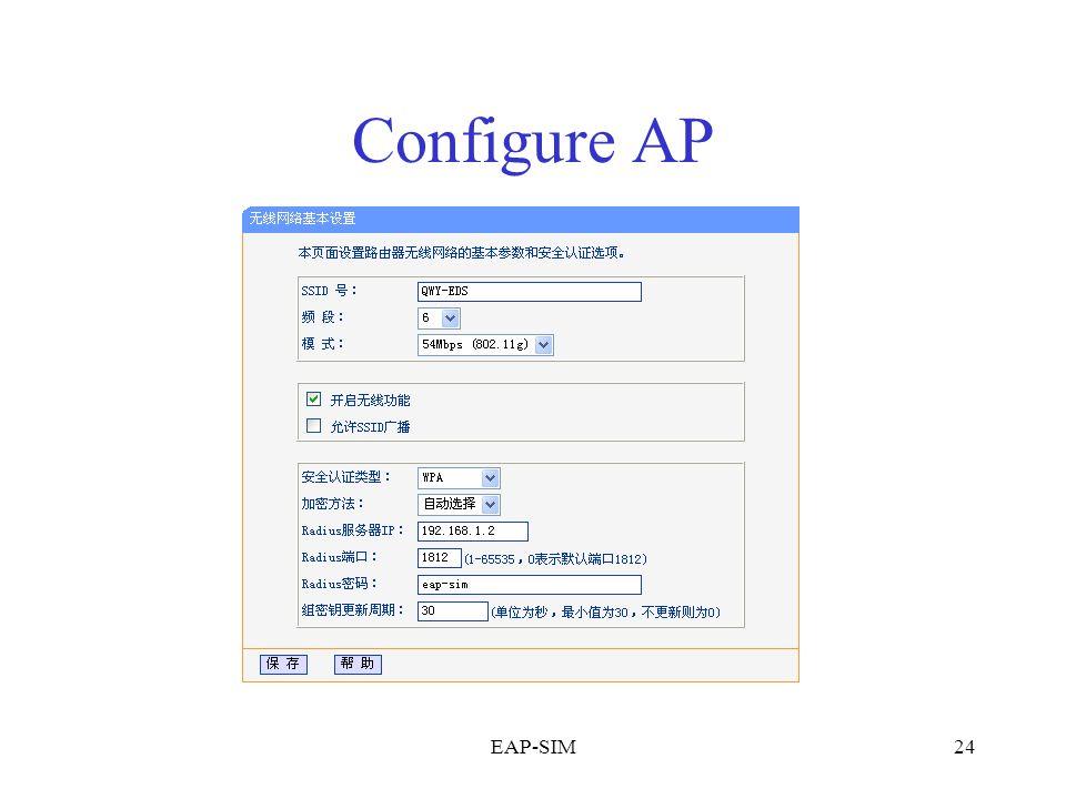EAP-SIM24 Configure AP