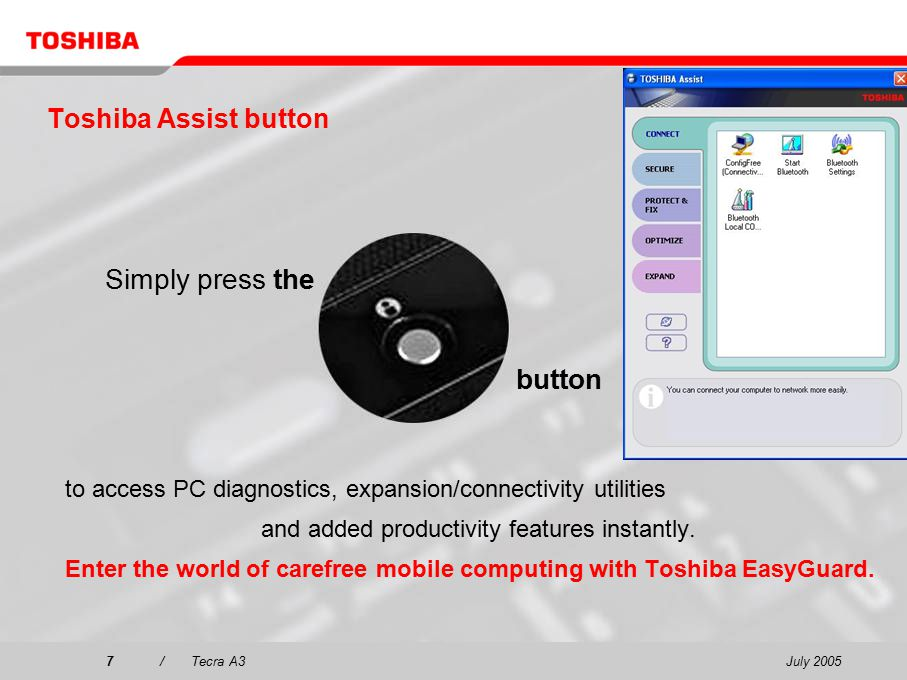 July 20057/Tecra A3 Toshiba Assist button to access PC diagnostics, expansion/connectivity utilities and added productivity features instantly.