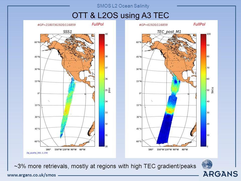 www.argans.co.uk/smos SMOS L2 Ocean Salinity OTT & L2OS using A3 TEC ~3% more retrievals, mostly at regions with high TEC gradient/peaks