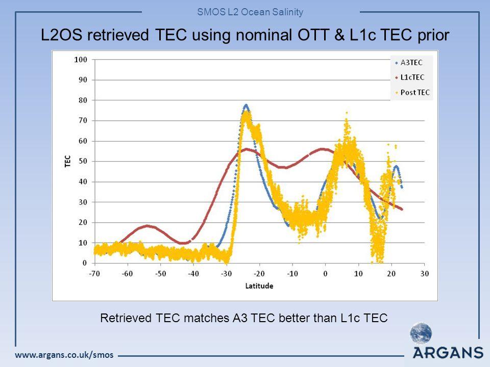 www.argans.co.uk/smos SMOS L2 Ocean Salinity L2OS retrieved TEC using nominal OTT & L1c TEC prior Retrieved TEC matches A3 TEC better than L1c TEC