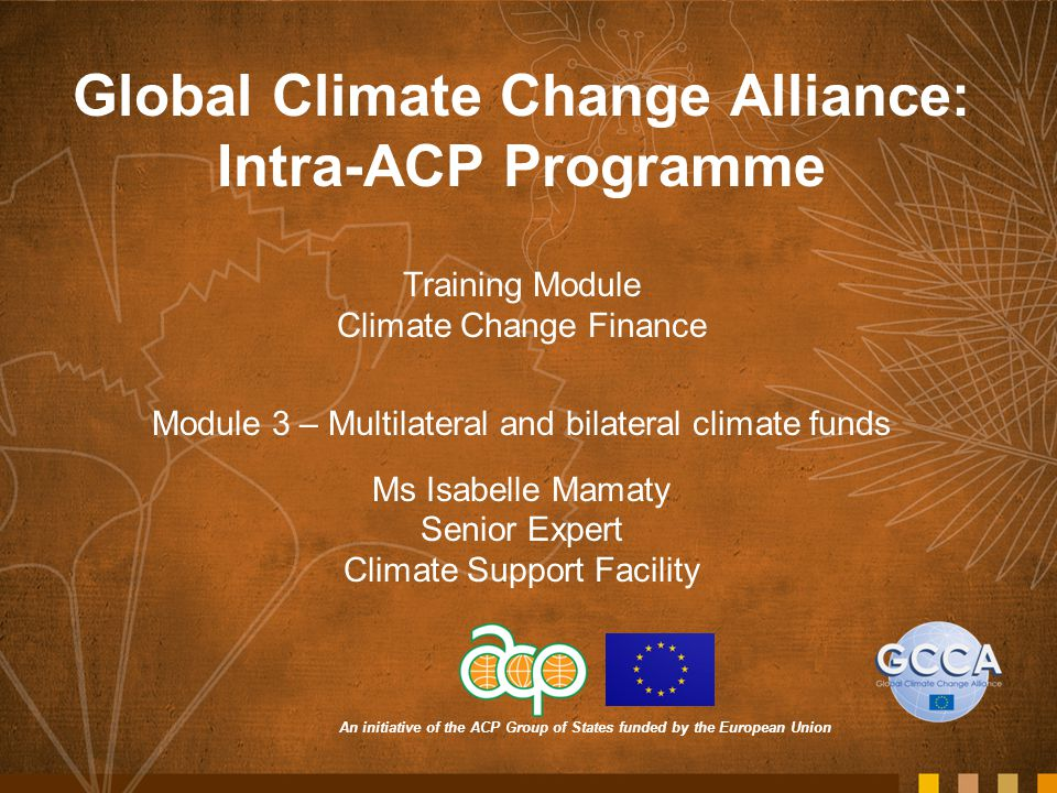 An initiative of the ACP Group of States funded by the European Union Global Climate Change Alliance: Intra-ACP Programme Training Module Climate Change Finance Module 3 – Multilateral and bilateral climate funds Ms Isabelle Mamaty Senior Expert Climate Support Facility