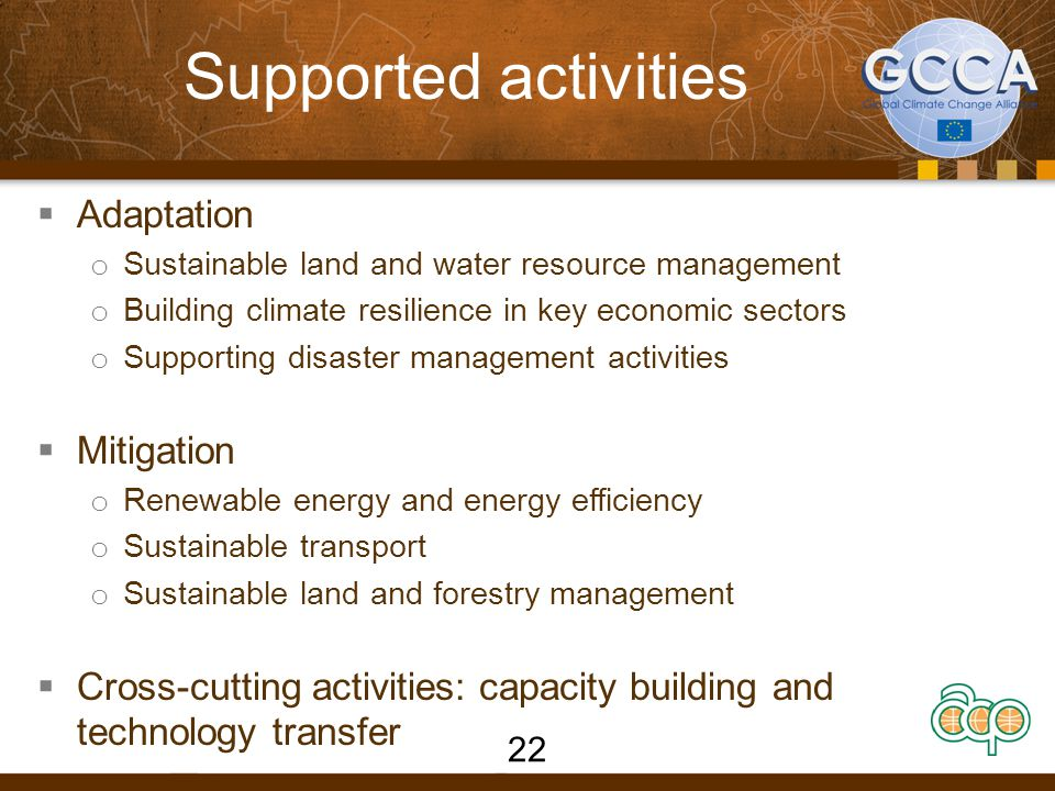 Supported activities  Adaptation o Sustainable land and water resource management o Building climate resilience in key economic sectors o Supporting disaster management activities  Mitigation o Renewable energy and energy efficiency o Sustainable transport o Sustainable land and forestry management  Cross-cutting activities: capacity building and technology transfer 22