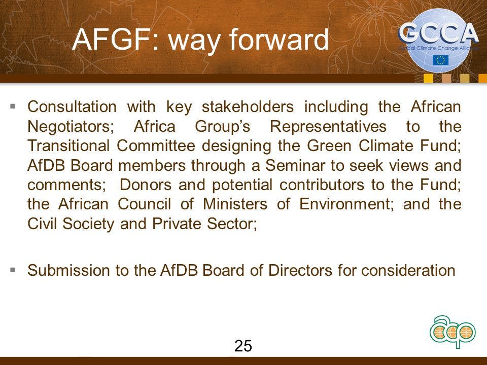 AFGF: way forward  Consultation with key stakeholders including the African Negotiators; Africa Group's Representatives to the Transitional Committee