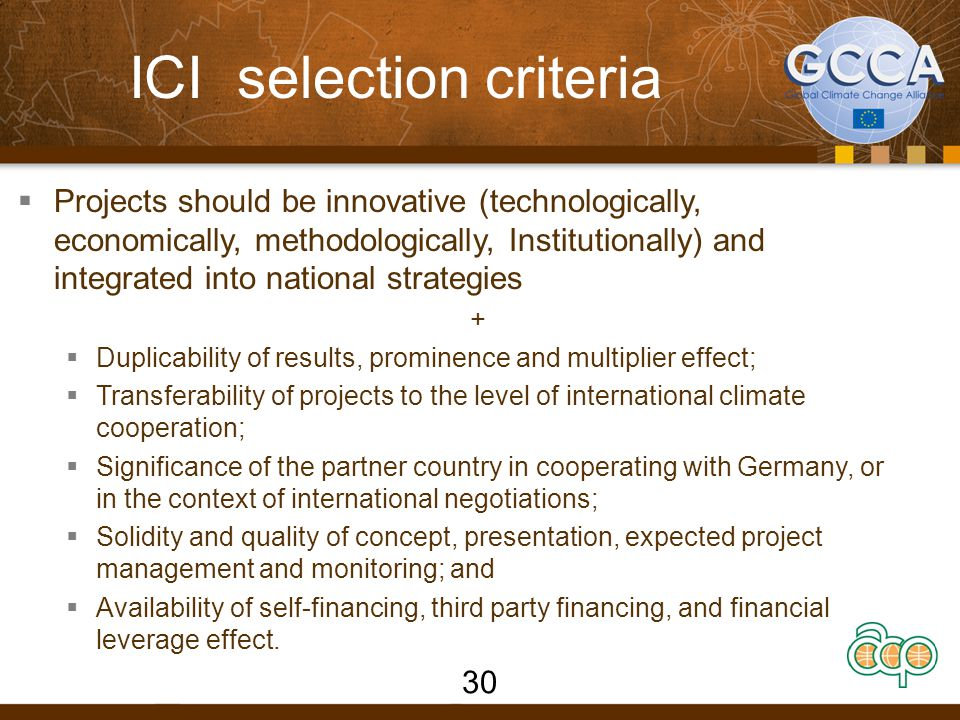 ICI selection criteria  Projects should be innovative (technologically, economically, methodologically, Institutionally) and integrated into national strategies +  Duplicability of results, prominence and multiplier effect;  Transferability of projects to the level of international climate cooperation;  Significance of the partner country in cooperating with Germany, or in the context of international negotiations;  Solidity and quality of concept, presentation, expected project management and monitoring; and  Availability of self-financing, third party financing, and financial leverage effect.