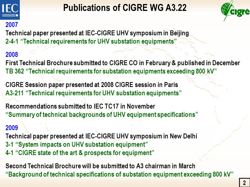 IEC SC17A requests for CIGRE on UHV standardizations IEC TC17 requested CIGRE WG A3.22 to investigate the technical backgrounds of UHV substation equipment in accordance with the following IEC standards.