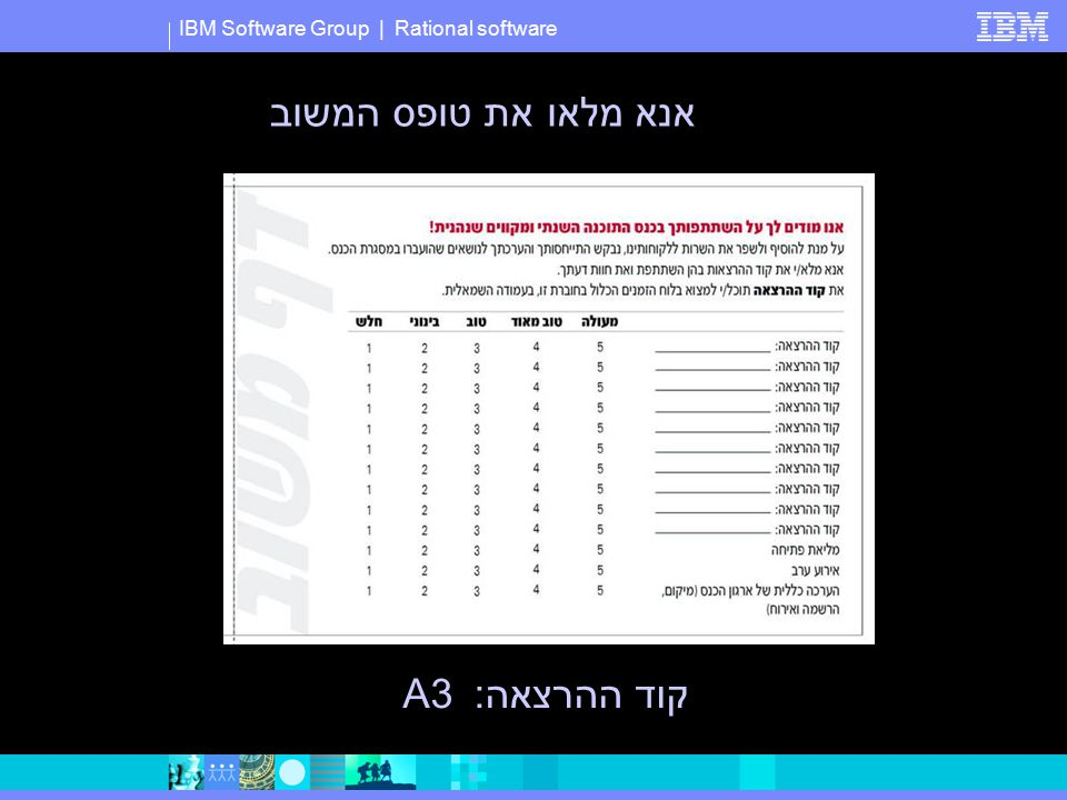 IBM Software Group | Rational software אנא מלאו את טופס המשוב קוד ההרצאה:A3