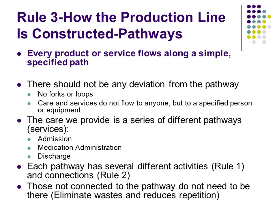 Rule 3-How the Production Line Is Constructed-Pathways Every product or service flows along a simple, specified path There should not be any deviation from the pathway No forks or loops Care and services do not flow to anyone, but to a specified person or equipment The care we provide is a series of different pathways (services): Admission Medication Administration Discharge Each pathway has several different activities (Rule 1) and connections (Rule 2) Those not connected to the pathway do not need to be there (Eliminate wastes and reduces repetition)