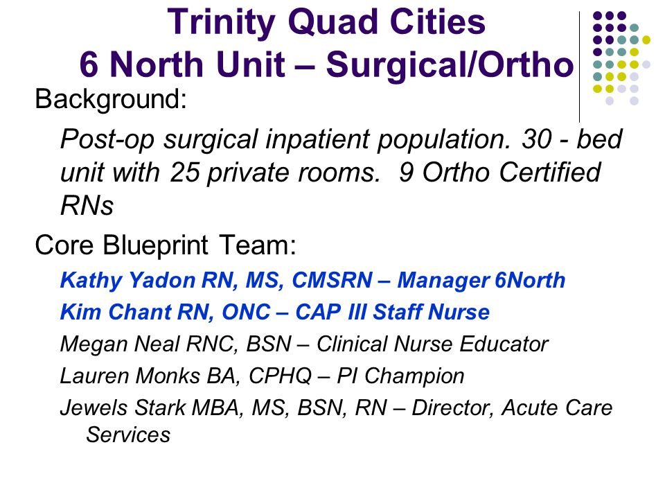 Trinity Quad Cities 6 North Unit – Surgical/Ortho Background: Post-op surgical inpatient population.