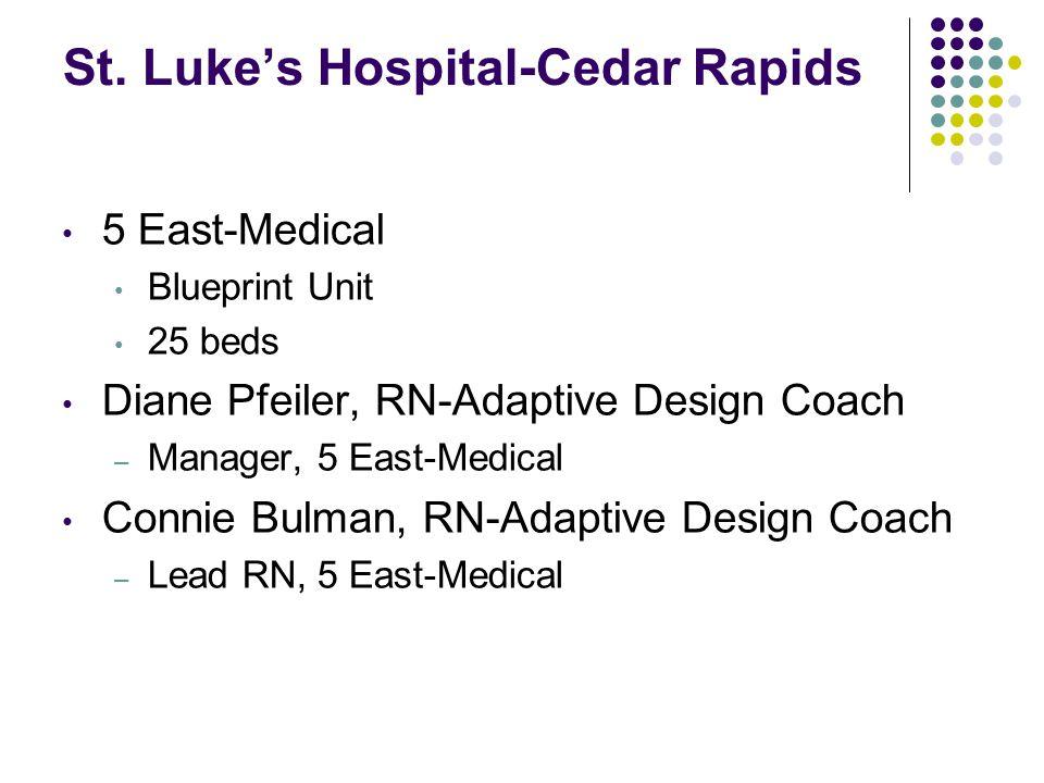 St. Luke's Hospital-Cedar Rapids 5 East-Medical Blueprint Unit 25 beds Diane Pfeiler, RN-Adaptive Design Coach – Manager, 5 East-Medical Connie Bulman