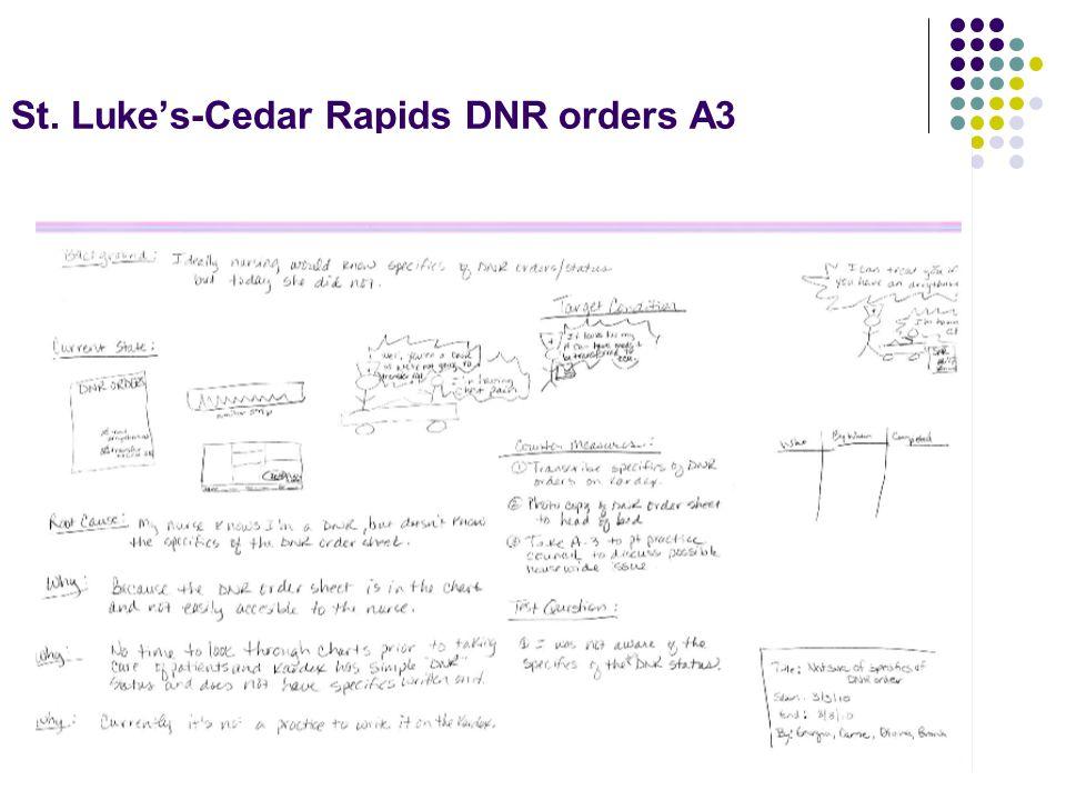 St. Luke's-Cedar Rapids DNR orders A3