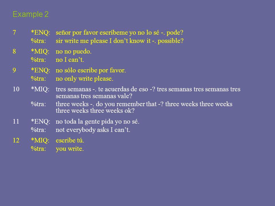 Example 2 7*ENQ: señor por favor escríbeme yo no lo sé -.