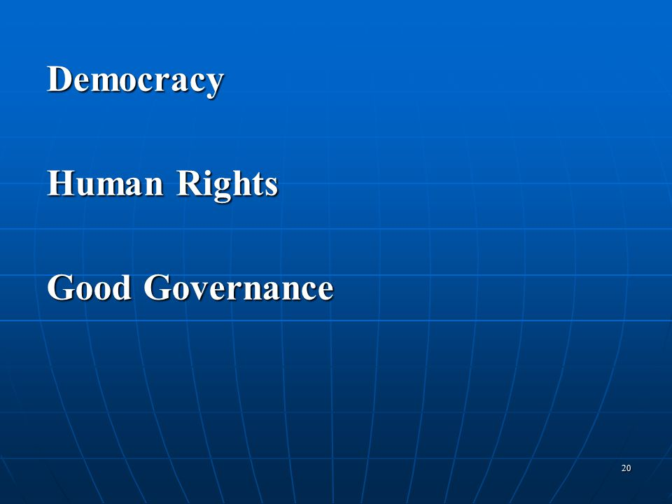 20 Democracy Human Rights Good Governance