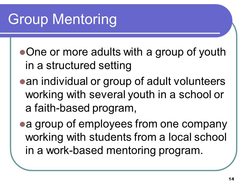 14 Group Mentoring One or more adults with a group of youth in a structured setting an individual or group of adult volunteers working with several youth in a school or a faith-based program, a group of employees from one company working with students from a local school in a work-based mentoring program.