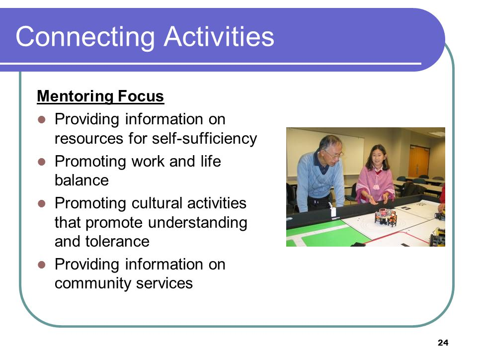 24 Connecting Activities Mentoring Focus Providing information on resources for self-sufficiency Promoting work and life balance Promoting cultural activities that promote understanding and tolerance Providing information on community services
