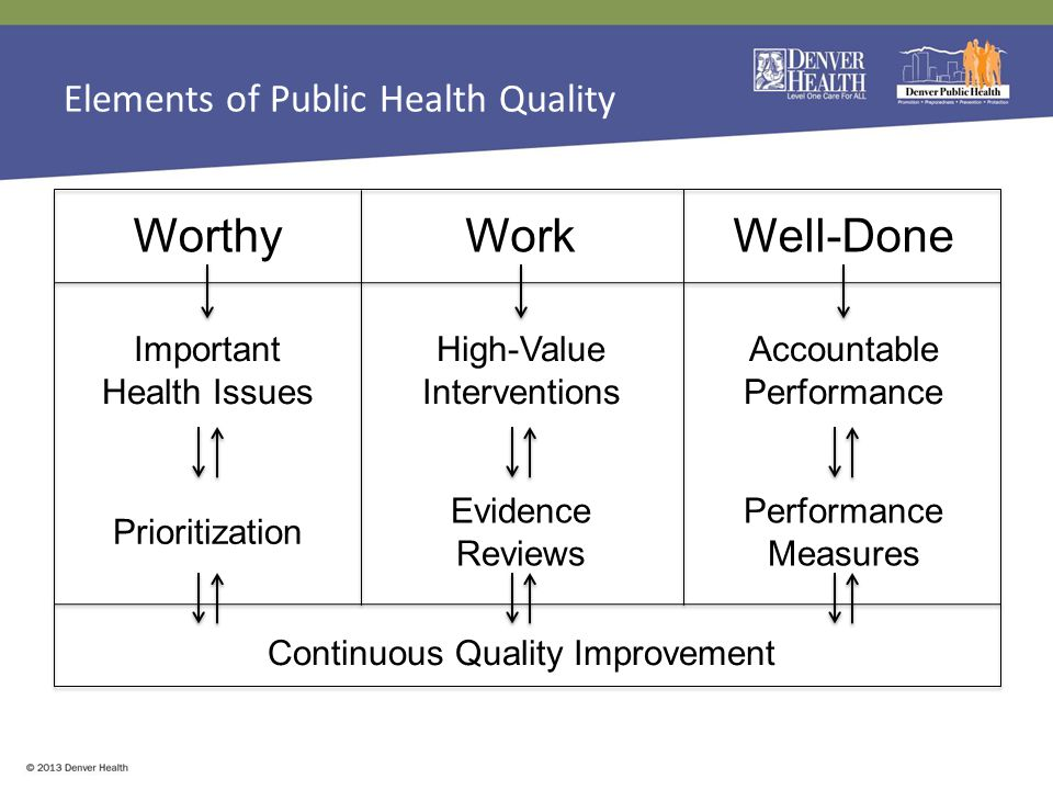 Elements of Public Health Quality WorthyWorkWell-Done Prioritization Evidence Reviews Performance Measures Important Health Issues High-Value Interventions Accountable Performance Continuous Quality Improvement