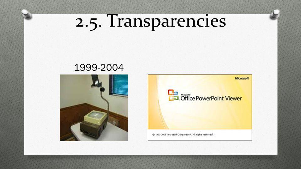 2.5. Transparencies 1999-2004