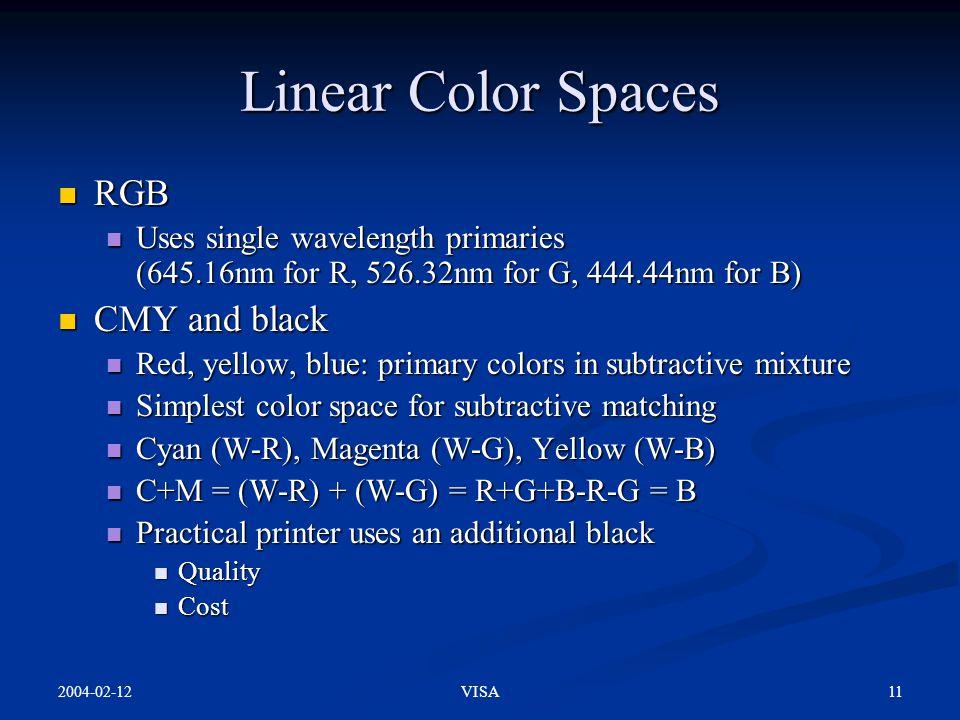 2004-02-12 11VISA Linear Color Spaces RGB RGB Uses single wavelength primaries (645.16nm for R, 526.32nm for G, 444.44nm for B) Uses single wavelength