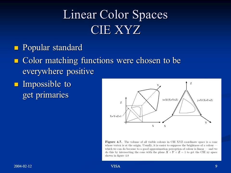 2004-02-12 9VISA Linear Color Spaces CIE XYZ Popular standard Popular standard Color matching functions were chosen to be everywhere positive Color ma