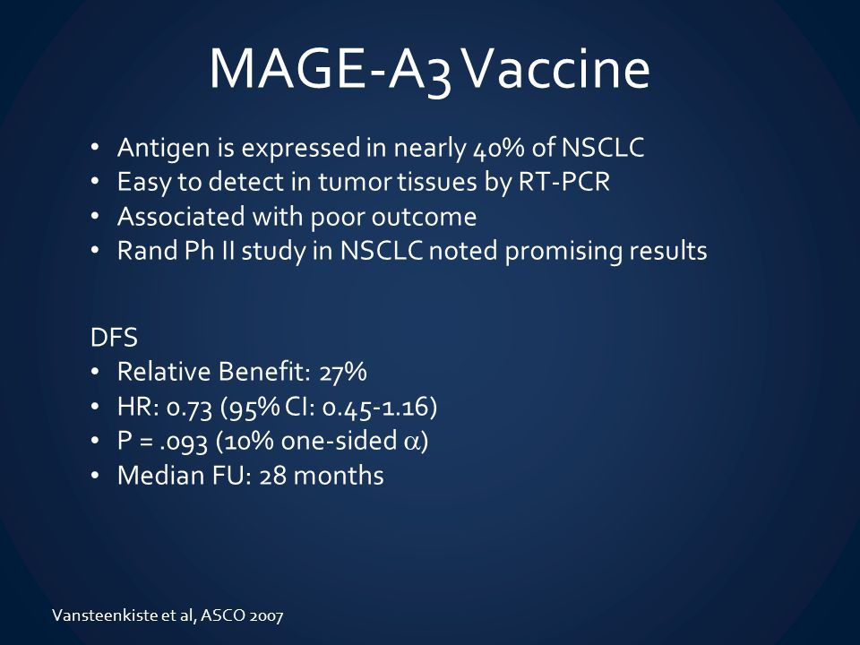 MAGE-A3 Vaccine Antigen is expressed in nearly 40% of NSCLC Easy to detect in tumor tissues by RT-PCR Associated with poor outcome Rand Ph II study in