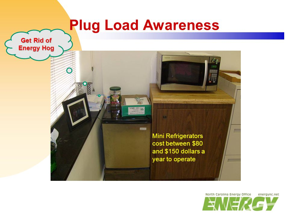 Plug Load Awareness Mini Refrigerators cost between $80 and $150 dollars a year to operate Get Rid of Energy Hog