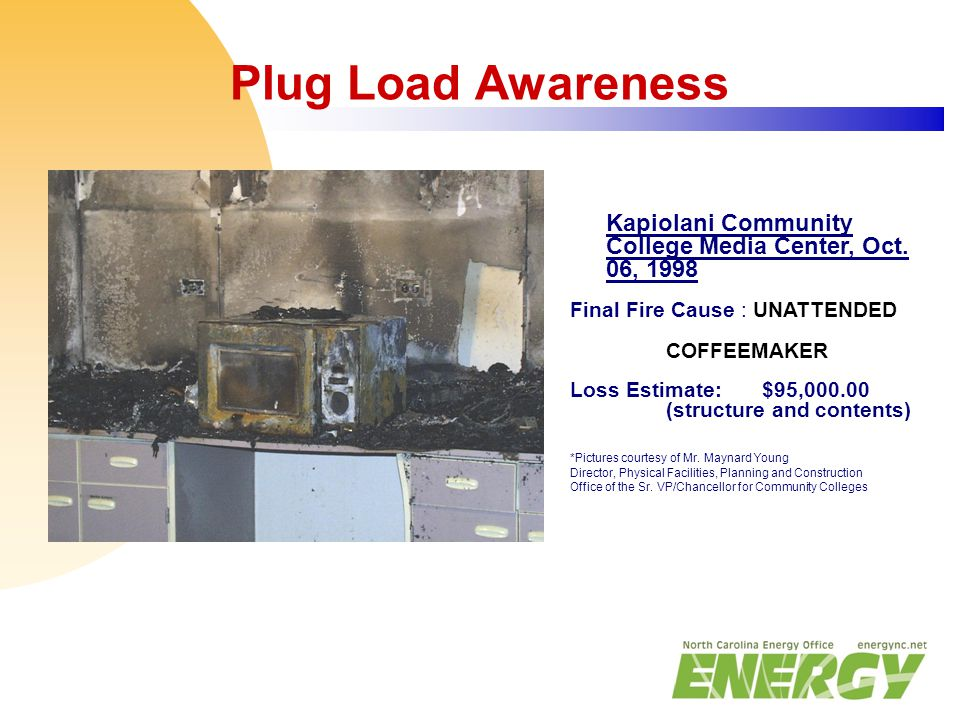 Plug Load Awareness Kapiolani Community College Media Center, Oct. 06, 1998 Final Fire Cause : UNATTENDED COFFEEMAKER Loss Estimate:$95,000.00 (struct