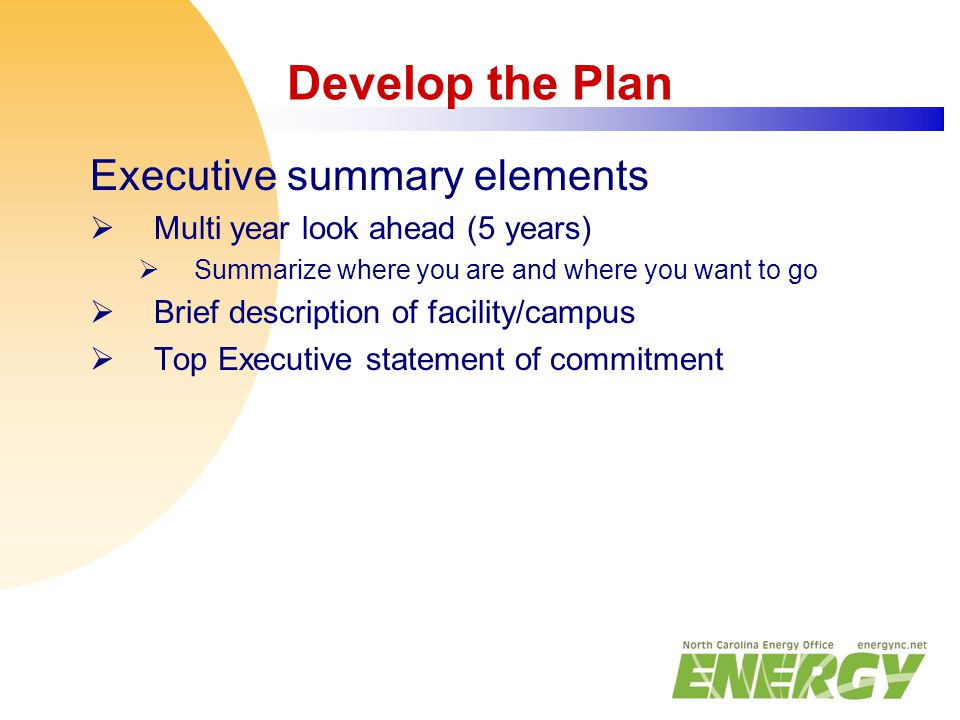 Develop the Plan Executive summary elements  Multi year look ahead (5 years)  Summarize where you are and where you want to go  Brief description o
