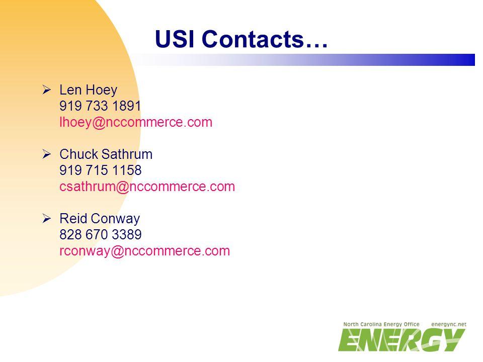 USI Contacts…  Len Hoey 919 733 1891 lhoey@nccommerce.com  Chuck Sathrum 919 715 1158 csathrum@nccommerce.com  Reid Conway 828 670 3389 rconway@nccommerce.com