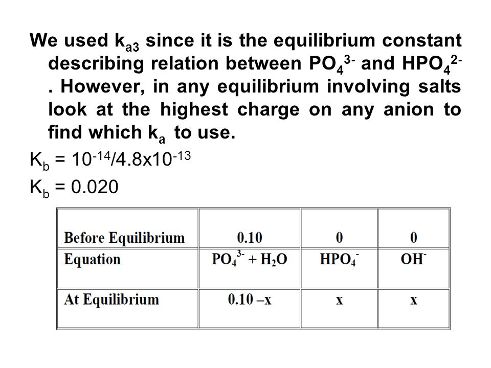 We used k a3 since it is the equilibrium constant describing relation between PO 4 3- and HPO 4 2-. However, in any equilibrium involving salts look a