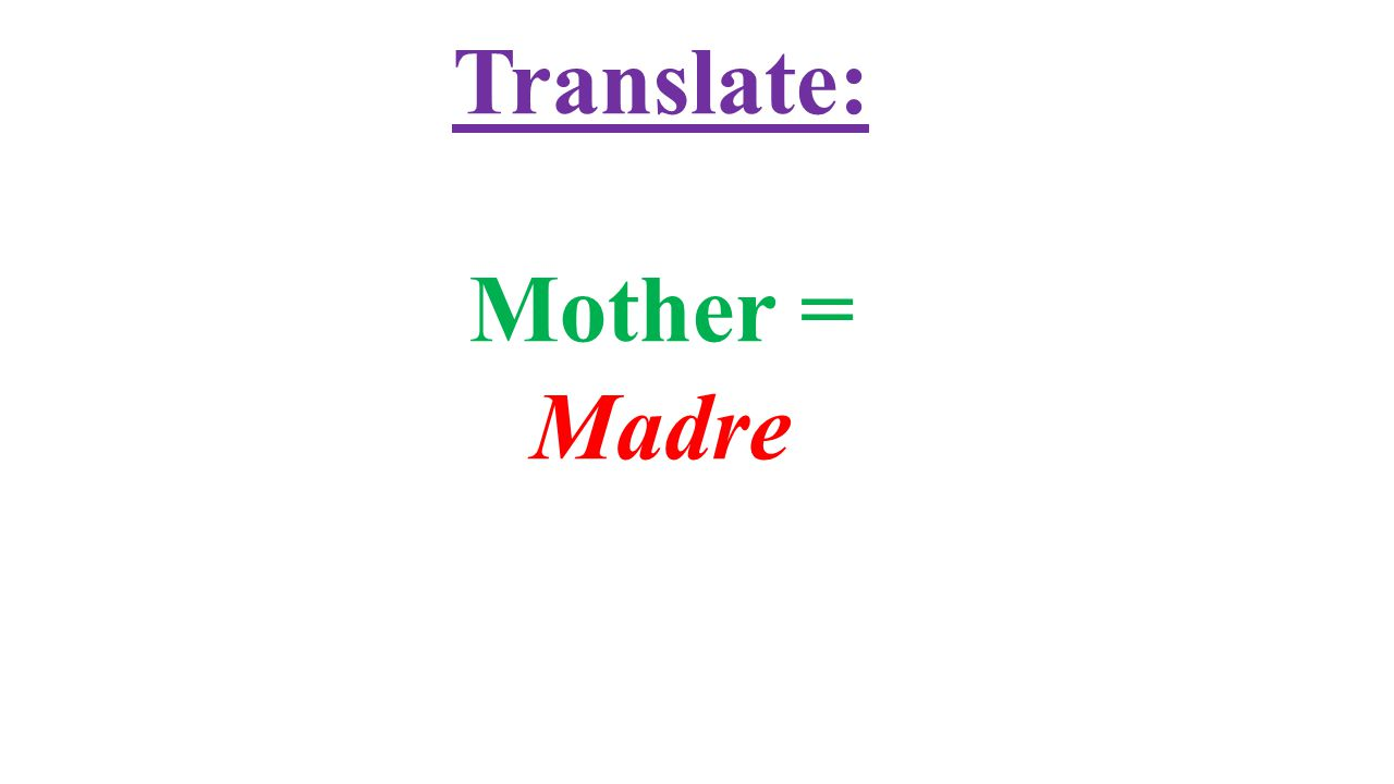 Translate: Mother = Madre