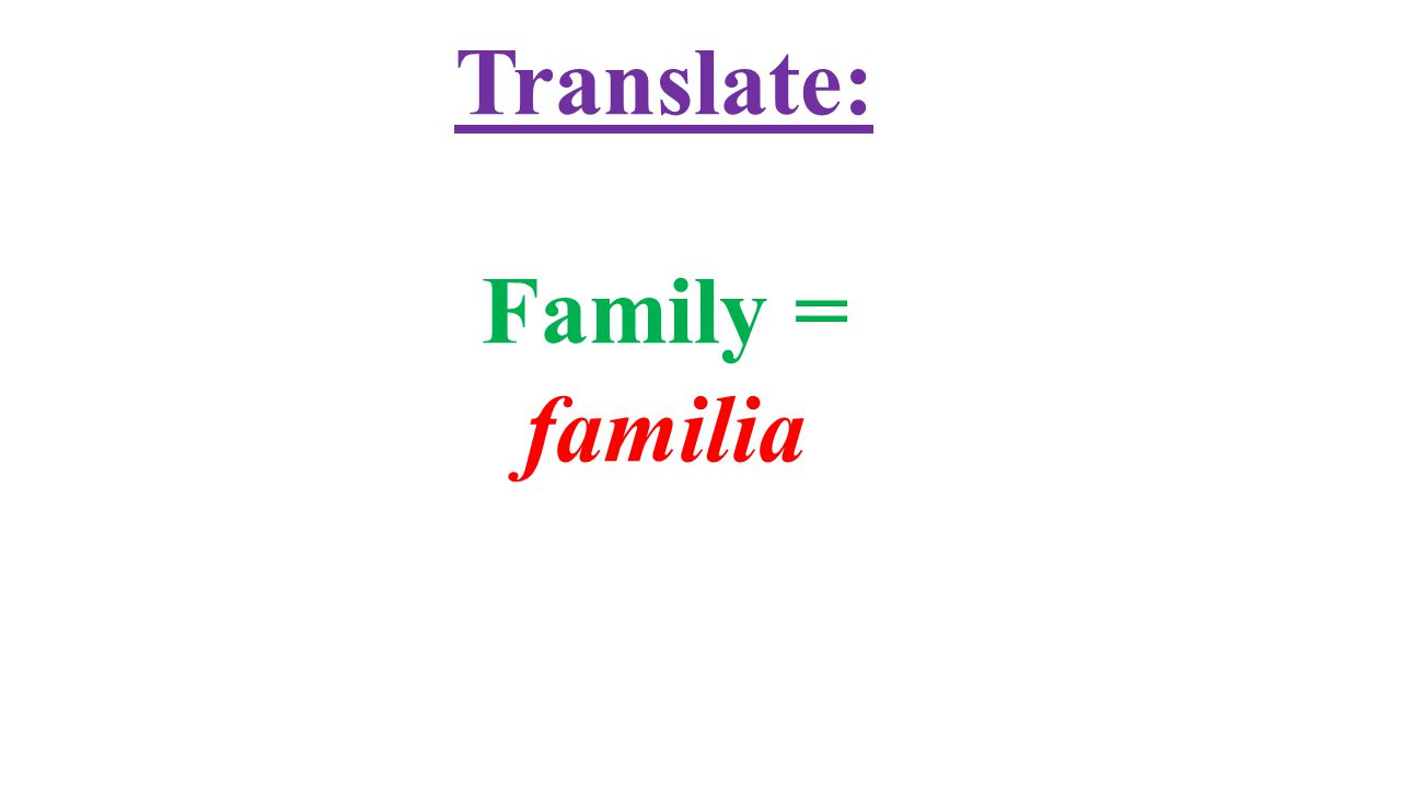 Translate: Family = familia