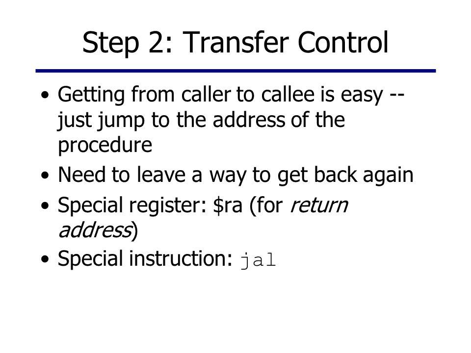 Jump and Link Calling code Procedure jal proc proc: add..