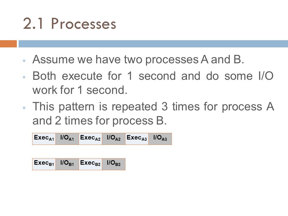 2.1 Processes Assume we have two processes A and B. Both execute for 1 second and do some I/O work for 1 second. This pattern is repeated 3 times for