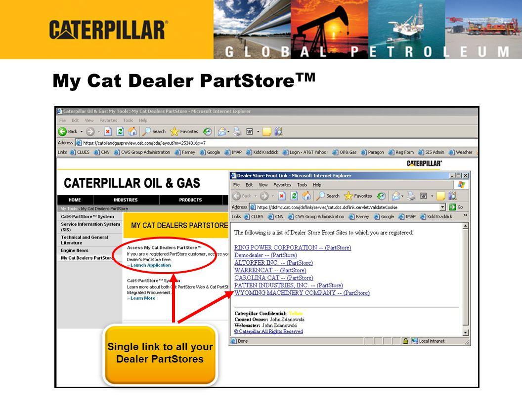 My Cat Dealer PartStore TM Single link to all your Dealer PartStores