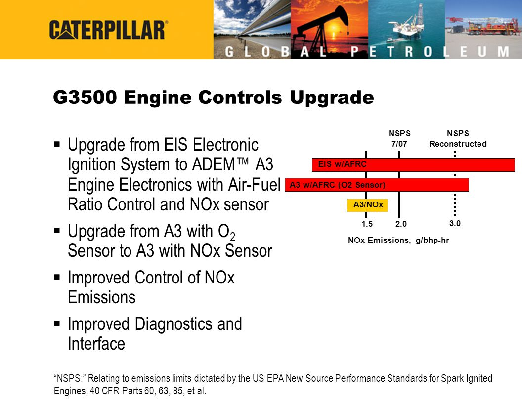 G3500 Engine Controls Upgrade  Upgrade from EIS Electronic Ignition System to ADEM™ A3 Engine Electronics with Air-Fuel Ratio Control and NOx sensor