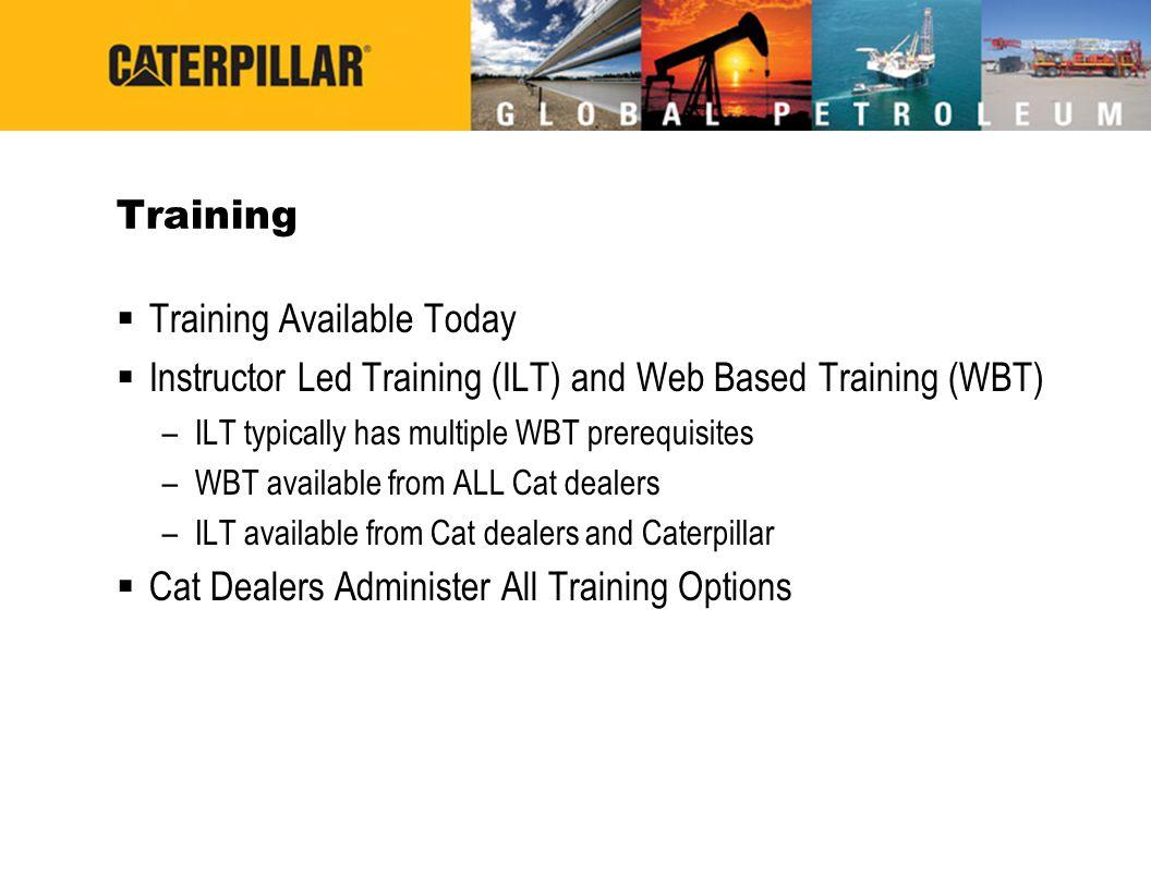 Training  Training Available Today  Instructor Led Training (ILT) and Web Based Training (WBT) –ILT typically has multiple WBT prerequisites –WBT av