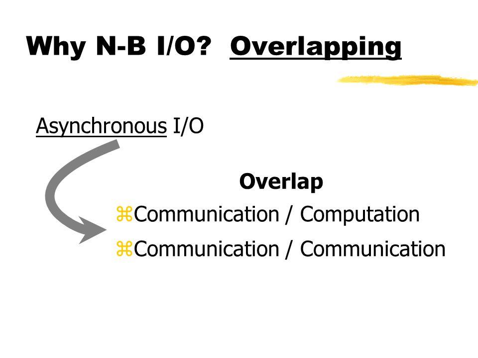 Why N-B I/O? Overlapping  Communication / Computation  Communication / Communication Asynchronous I/O Overlap
