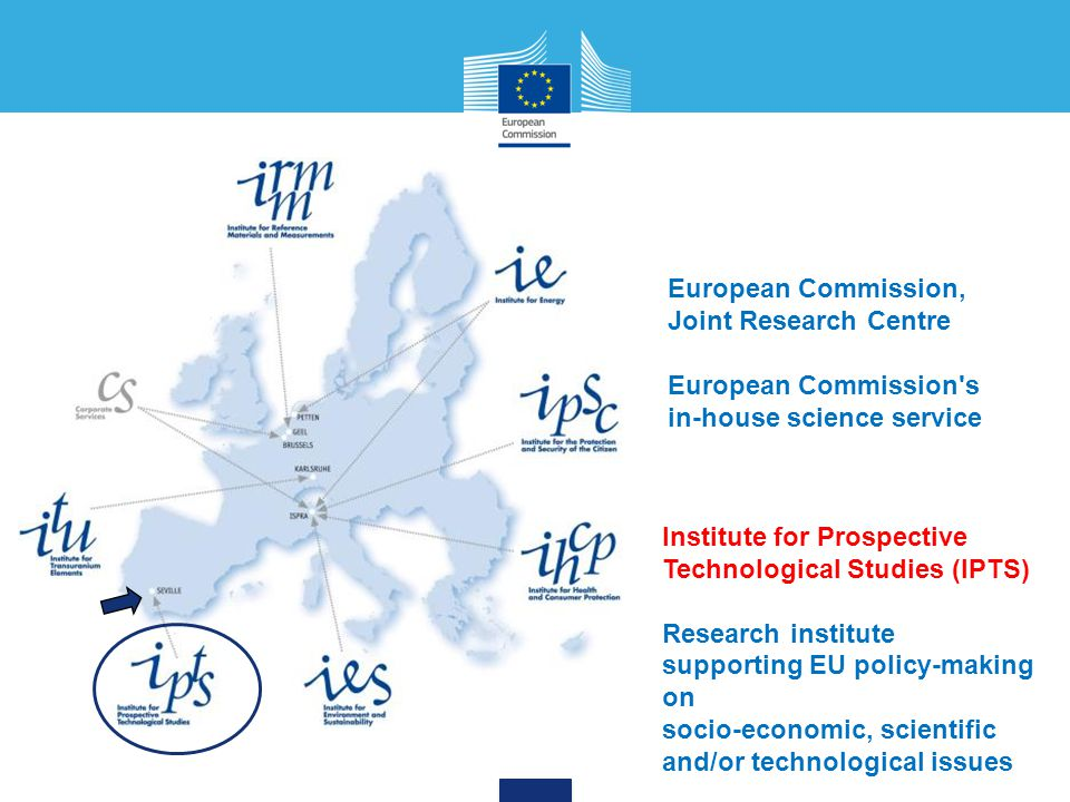 European Commission, Joint Research Centre European Commission's in-house science service Institute for Prospective Technological Studies (IPTS) Resea