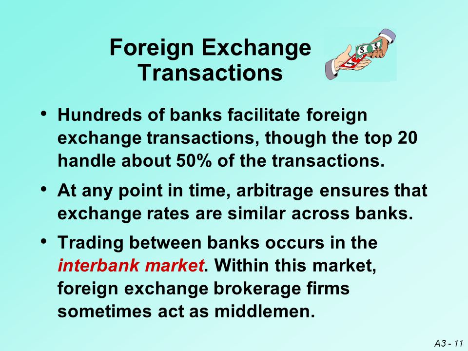 A3 - 11 Hundreds of banks facilitate foreign exchange transactions, though the top 20 handle about 50% of the transactions. At any point in time, arbi