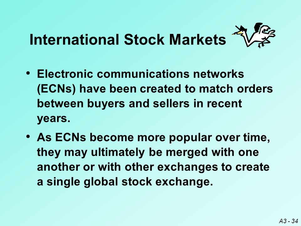 A3 - 34 Electronic communications networks (ECNs) have been created to match orders between buyers and sellers in recent years. As ECNs become more po