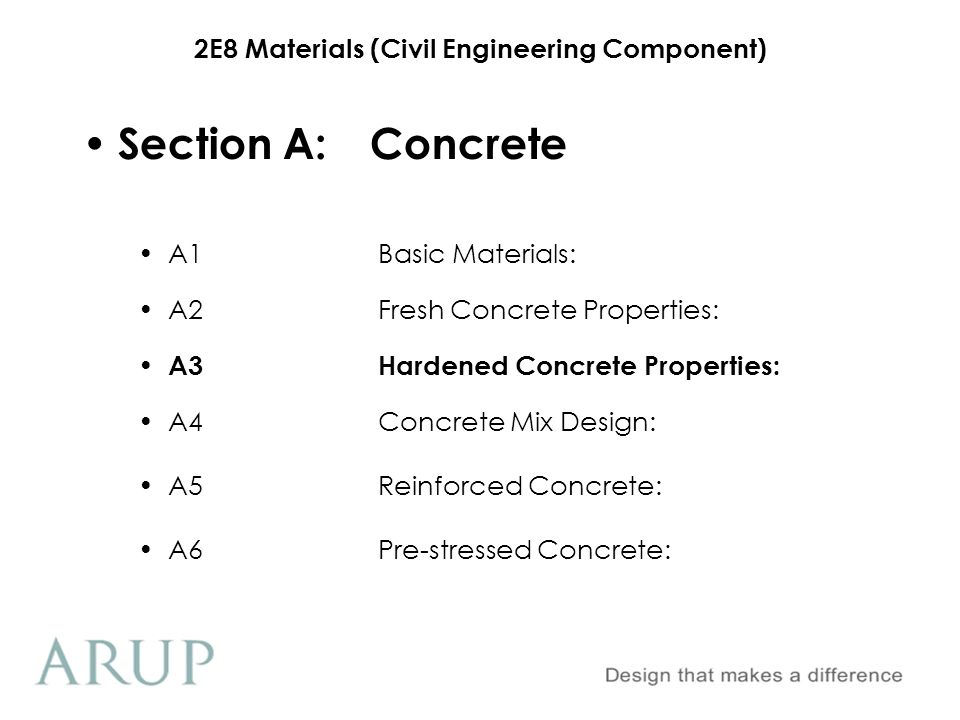 2E8 Materials (Civil Engineering Component) Section A.3Hardened Concrete Properties 1.Curing 2.Strength Development 3.Durability 4.Cube/Cylinder Manufacture & Testing 5.Cube Failures 6.Young's Modulus & Poisson's Ratio
