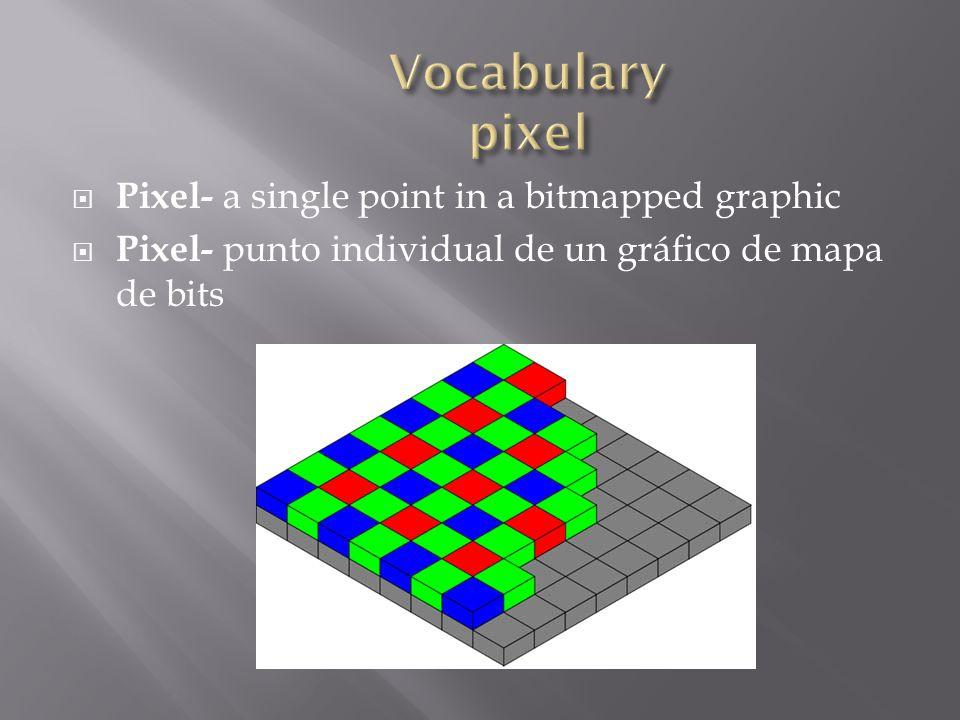  vector graphic- an image that is created using paths or lines  gráfico vectorial- imagen que se crea mediante trayectorias o líneas
